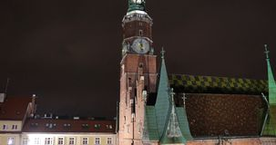Tower of City Hall in Wroclaw. Poland stock video