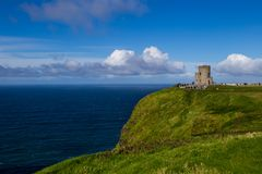The Tower at the Cliffs of Moher, Ireland. The Tower at the Cliffs of Moher, Atlantic Ocean, Ireland royalty free stock image