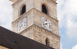 Tower clock in Alba Iulia. Tower clock of St. Michael Cathedral in Alba Iulia Stock Image