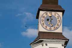 Tower with clock. On blue sky background Stock Photo