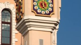 Tower clock. Of building of Kiev academic puppet theatre in Ukraine. Kiev academical puppet show theatre is one of two Marionette theatres operating in Kiev stock footage