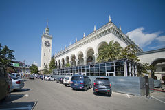 Tower with clock and building. Sochi. Royalty Free Stock Photos