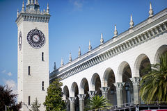 Tower with clock and building. Sochi. Royalty Free Stock Images