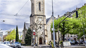 Tower and Clock of the English Church, on Amy-Levrier Street Royalty Free Stock Photo