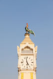 Tower clock. Have chicken stand Royalty Free Stock Image