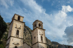 Tower with a clock in the old city of Kotor, Montenegro Stock Photography