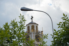 Tower clock. Pic of  a tower clock in Bitola, Macedonia Stock Photography