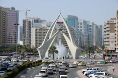Tower Clock Roundabout in Dubai Royalty Free Stock Photo