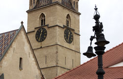 Tower clock in Sibiu. Tower clock of Gothic Evangelical Cathedral in Sibiu royalty free stock photography