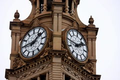 Tower clock at train station Royalty Free Stock Images