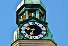 Tower Clock Under Blue Sky during Daytime Stock Photo