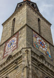 Tower and clocks of the black church in Brasov Royalty Free Stock Images