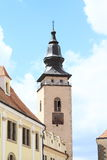 Tower with clocks in Telc Stock Photos
