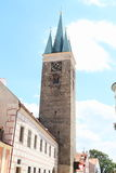 Tower with clocks in Telc Stock Photo