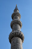 Tower close up, The Blue Mosque, Istanbul, Turkey. Royalty Free Stock Image