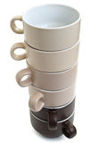 Tower of coffee cups Royalty Free Stock Photos