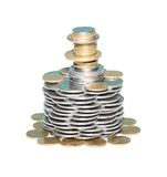 Tower from coins Stock Images