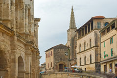 Tower of the College Saint Charles and the wall of the old Roman Stock Images