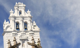 Tower of colonial church. Royalty Free Stock Images
