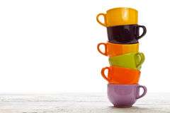 Tower of color cups Stock Photos