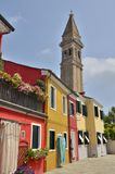 Tower and color houses Royalty Free Stock Photography