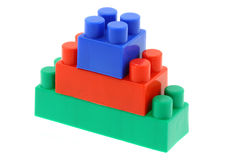 Tower of colorful building blocks - no trademarks. Tower of colorful building blocks,  no trademarks Royalty Free Stock Image
