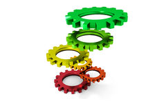 Tower of colorful metallic cogwheels hovering Royalty Free Stock Photo