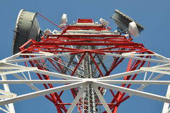 Tower of communication with antennas Royalty Free Stock Photos