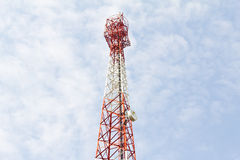Tower for communications with telecommunications Royalty Free Stock Images