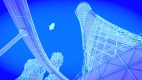 Tower. concept future city skyline. Futuristic business vision concept. 3d illustration. Royalty Free Stock Images