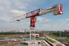 Tower construction, crane, red and white Royalty Free Stock Photos