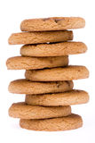 Tower Cookie. A pile of chocolate chip cookies isolated on a white background Stock Image