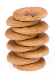 Tower Cookie. Group of chocolate chip cookies isolated on a white background Royalty Free Stock Photo
