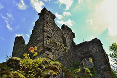 Tower corner of castle ruins Stock Photo