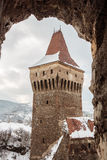 Tower in Corvin Castle, Romania stock images