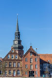 Tower of the Cosmas and Damian church over houses in Stade Royalty Free Stock Photography