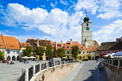 Tower of council in Sibiu. Small square from sibiu with tower of council Stock Images
