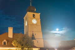 Tower of council in Sibiu. Small square from Sibiu, Romania with tower of council Royalty Free Stock Photo