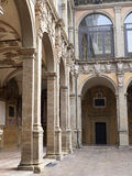 Tower and courtyard of Archiginnasio palace - the first official Royalty Free Stock Image