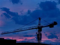 Tower crane. At sunset, Hamburg airport, Germany Royalty Free Stock Images
