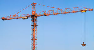The tower crane. Shooting in a panorama mode and generate from several blocks royalty free stock photography