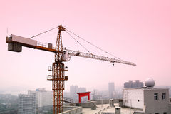 Tower crane. A tower crane is erected in buildings with dusk background royalty free stock image