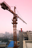 Tower crane. A tower crane is erected in buildings with dusk background stock image