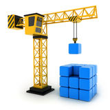Tower crane and abstract cube Stock Photos