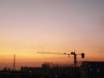 Tower crane. A tower crane alone in the busy town Stock Photos