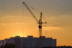 Tower crane on background of building and sky during sunset Stock Photography