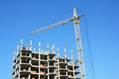 Tower Crane and building construction site with copy space. Stock Images