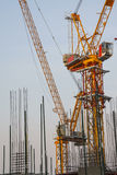 Tower crane with building under construction. Steel bar and tower crane inside building under construction Stock Image