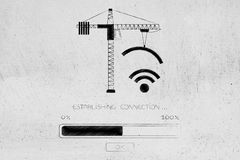 Tower crane builing a wi-fi symbol, establishing connection Royalty Free Stock Images