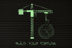 Tower crane completing the missing piece of a coin split in part Royalty Free Stock Photos